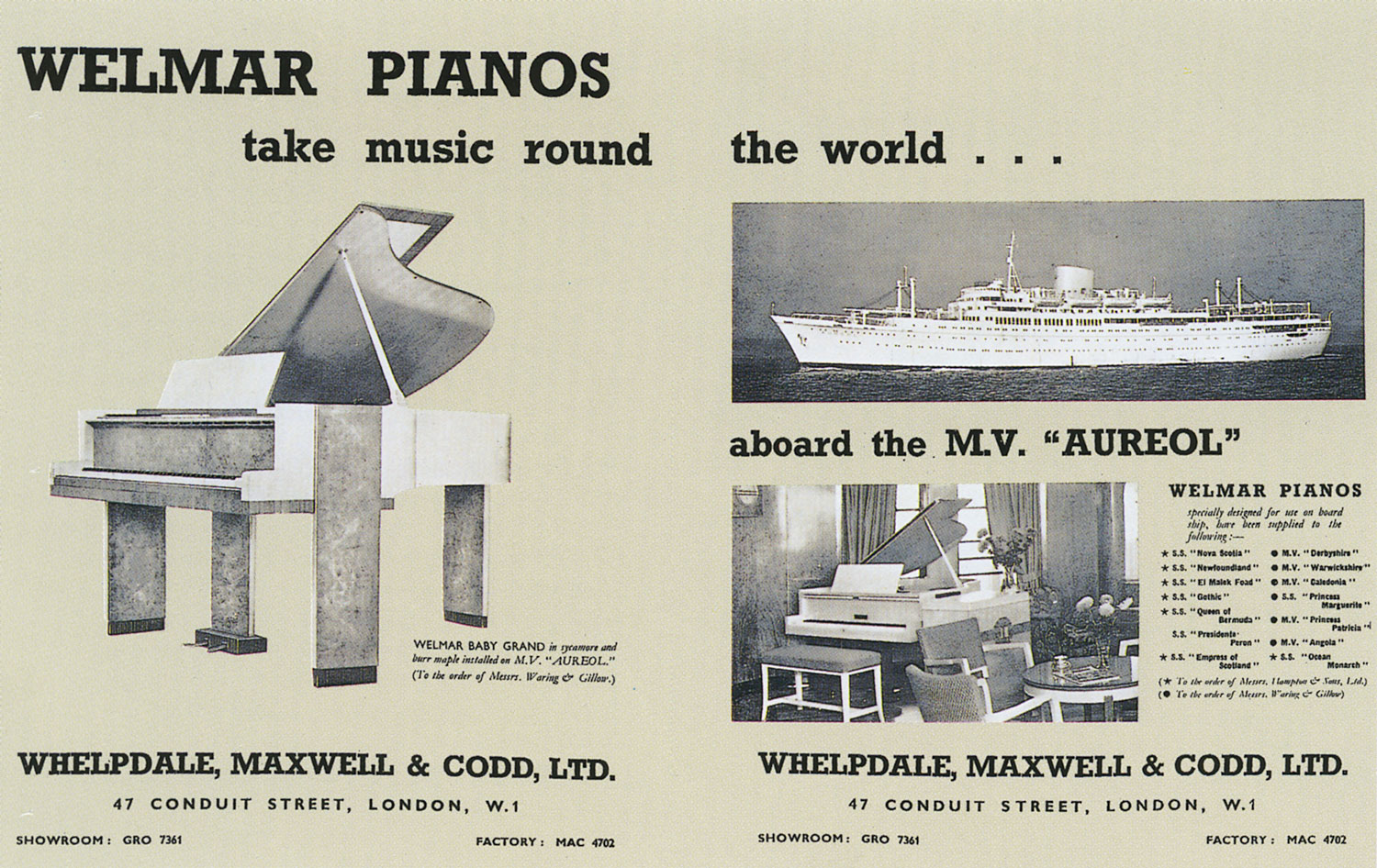 advert for Welmar ship piano