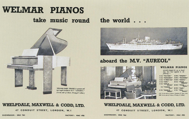 advert for Welmar ship piano