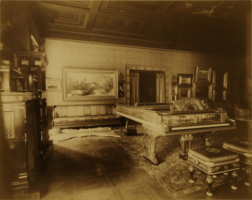 The Alma-Tadema piano in the music room