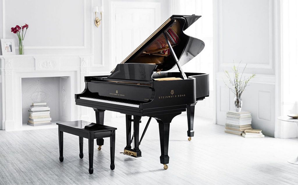 A Steinway Grand Piano Model B in a lounge setting