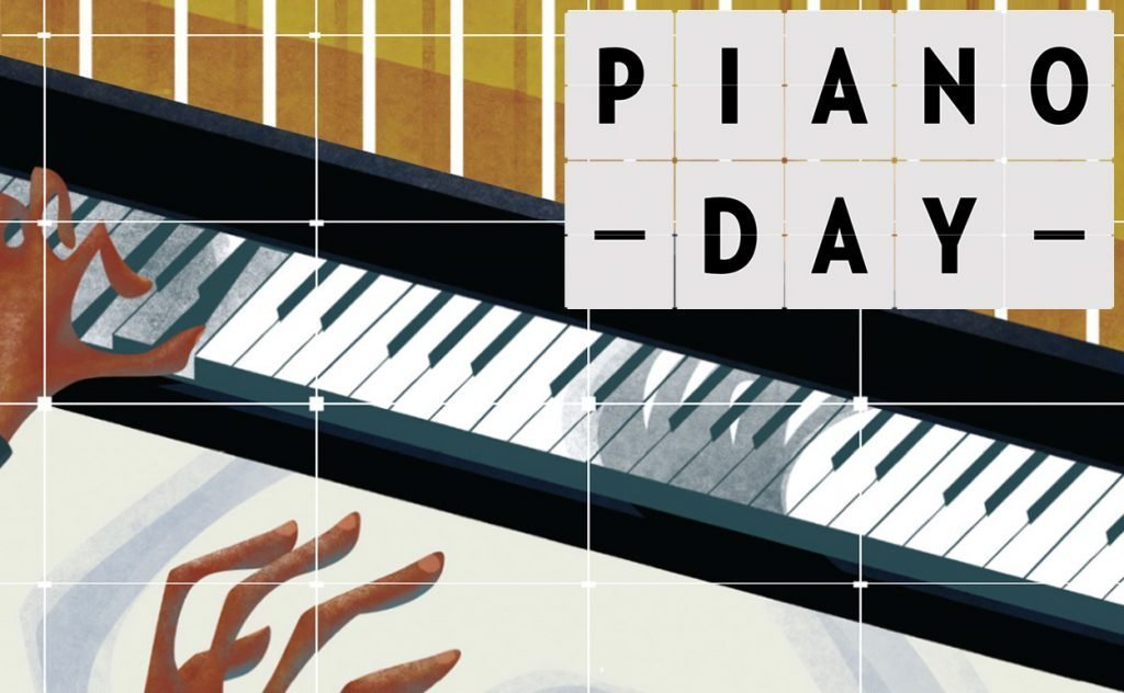 Piano Day 2019 logo with background piano illustration