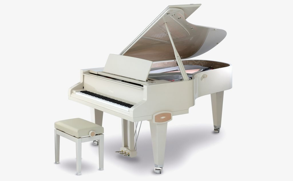The Petrof Stingray grand piano being played at the company's anniversary event
