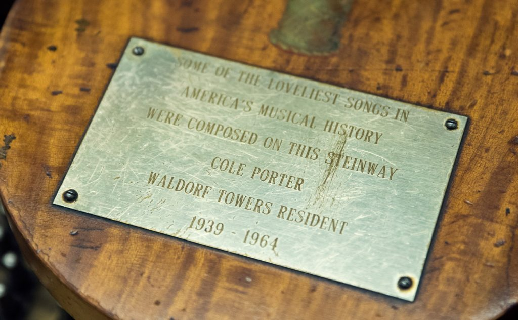 Cole Porter's Steinway piano commemorative plaque