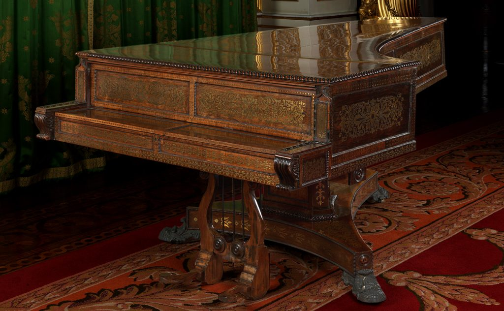 Grand piano by Isaac Mott on display at Buckingham Palace