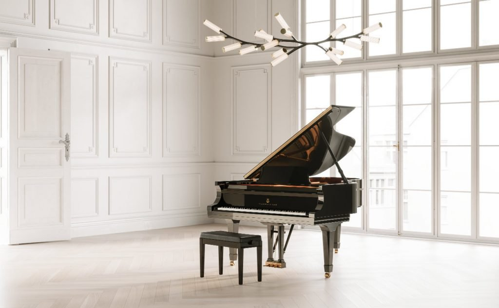 Steinway grand piano and Haara chandelier