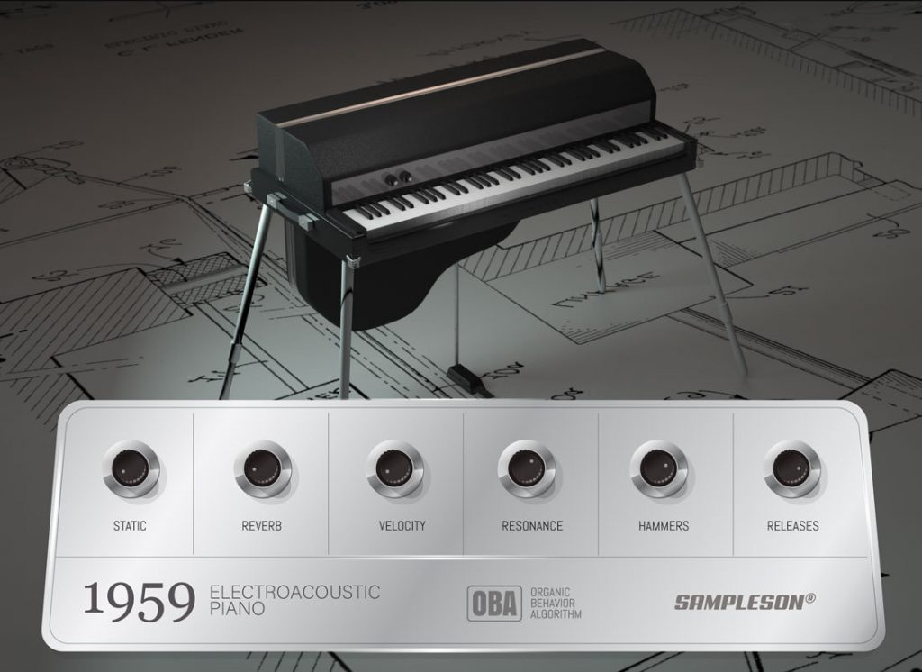 A mock-up of Fender's electro-acoustic piano superimposed with an image of Sampleson's 1959 plugin user interface