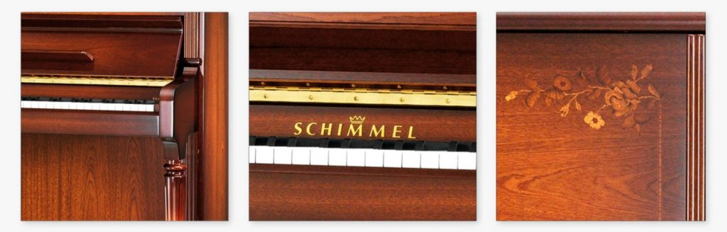 Close-up photos of the Schimmel C121 Royal Intasarie Flora upright piano