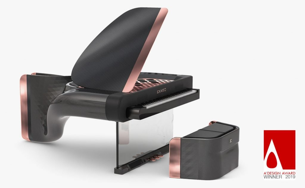 The Exxeo Hybrid piano with copper trim and matching stool