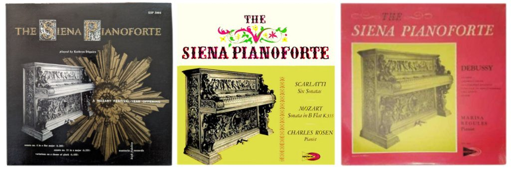 Album sleeves of recordings of The Siena (Immortal) Piano