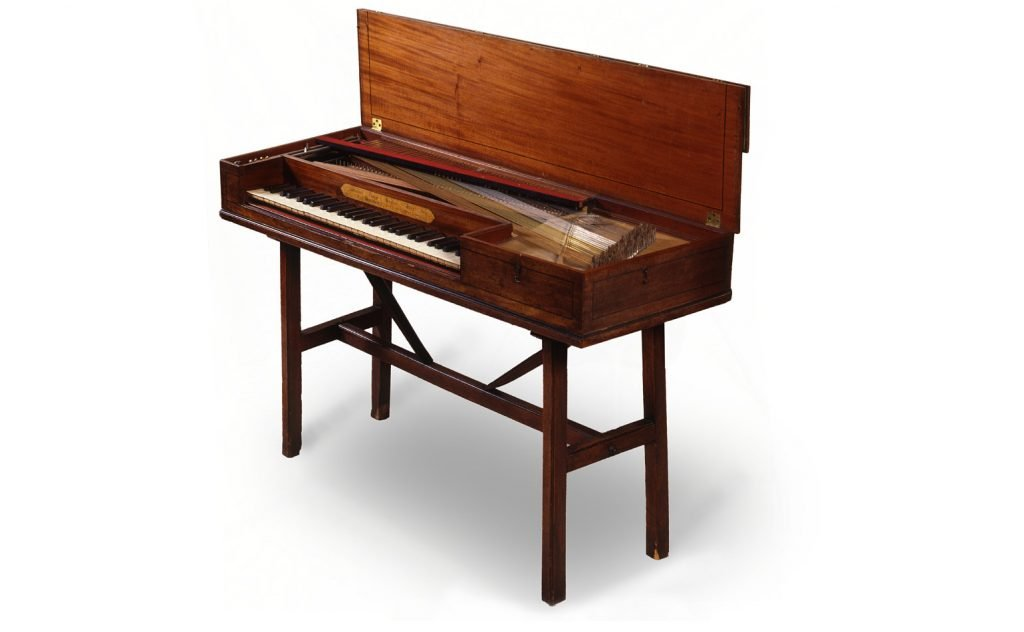 photograph of square piano made by Johann Zumpe with the lid open.
