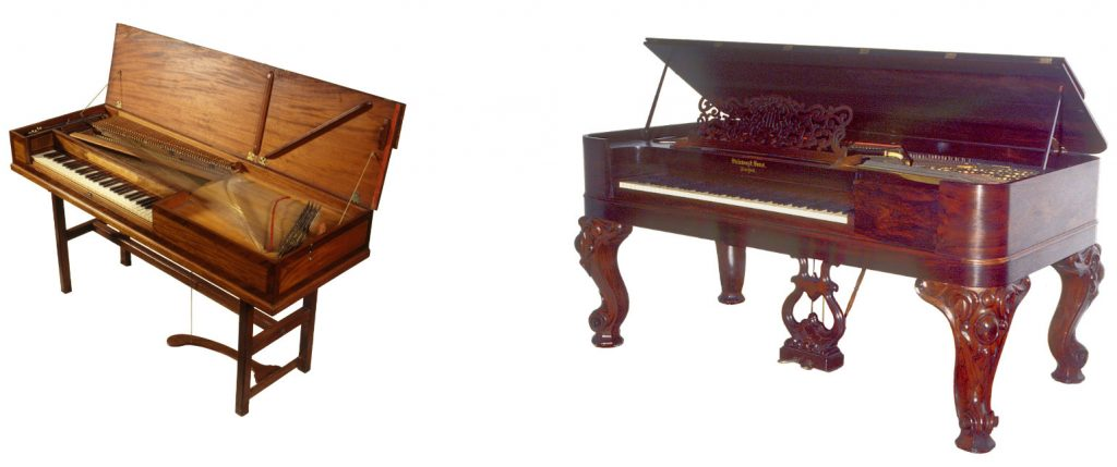 image of two historical keyboards - two square pianos. One a delicate 1777 Beyer, the other a sturdy 1871 Steinway.
