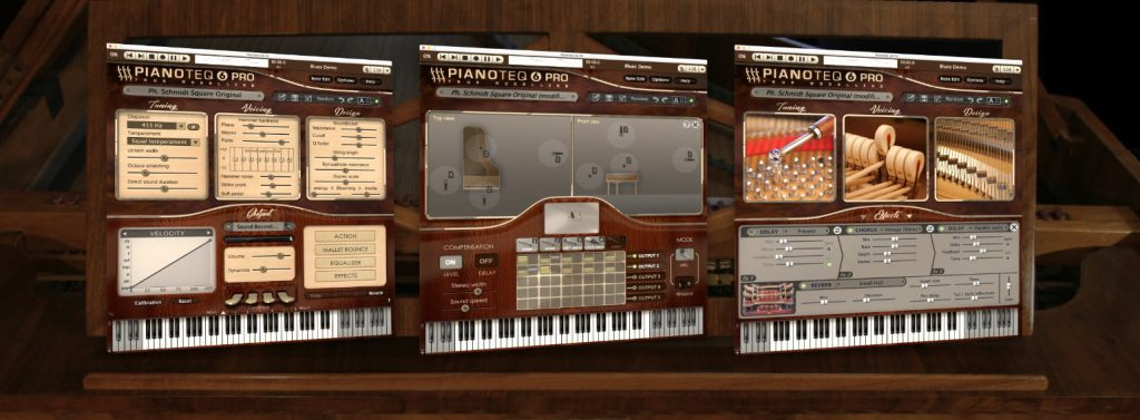 three screens from the Pianoteq software running the Karsten Collection