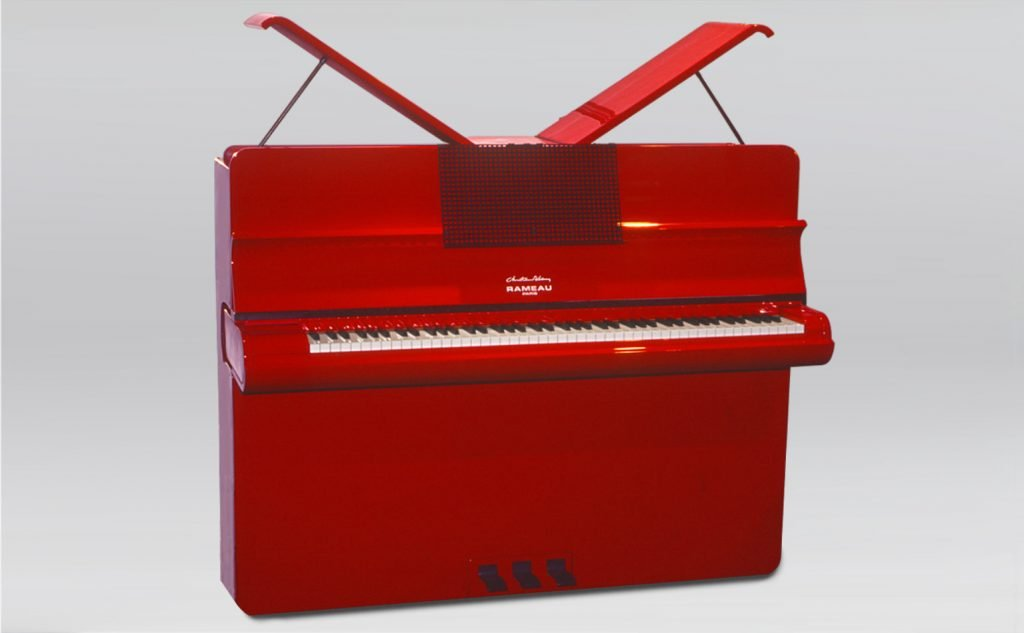 "front view of a bright red Rameau ""Aurore"""