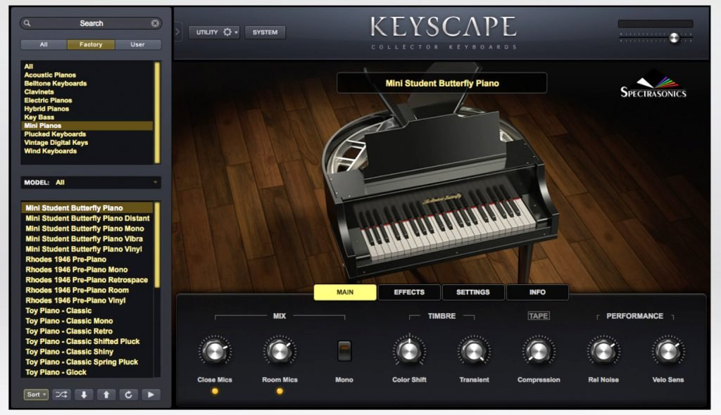 "image showing the Student Butterfly Piano screen - part of its ""Keyscape - Collector Keyboards"" virtual instrument"