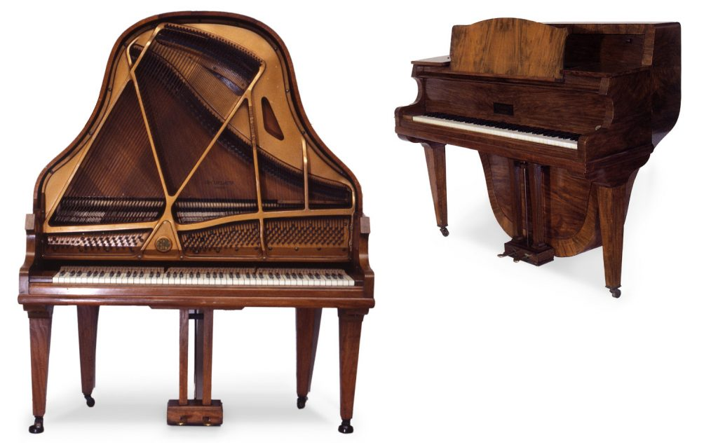image showing the front view of the Morley Orchestral Upright Grand Piano,and a smaller three-quarter view of the Morley Perpendicular Grand Piano.