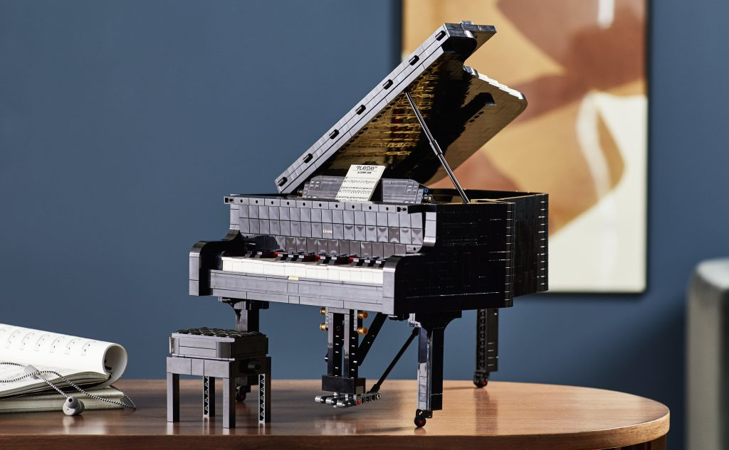 The Lego Piano shown on a display shelf