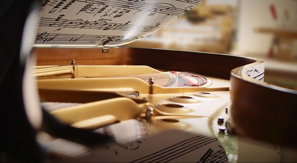image showing the inside of the Appassionata piano - looking up at the lid