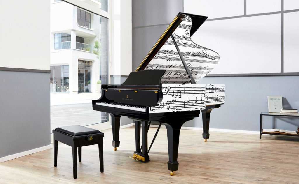 image showing the Appassionata grand piano in the showroom window