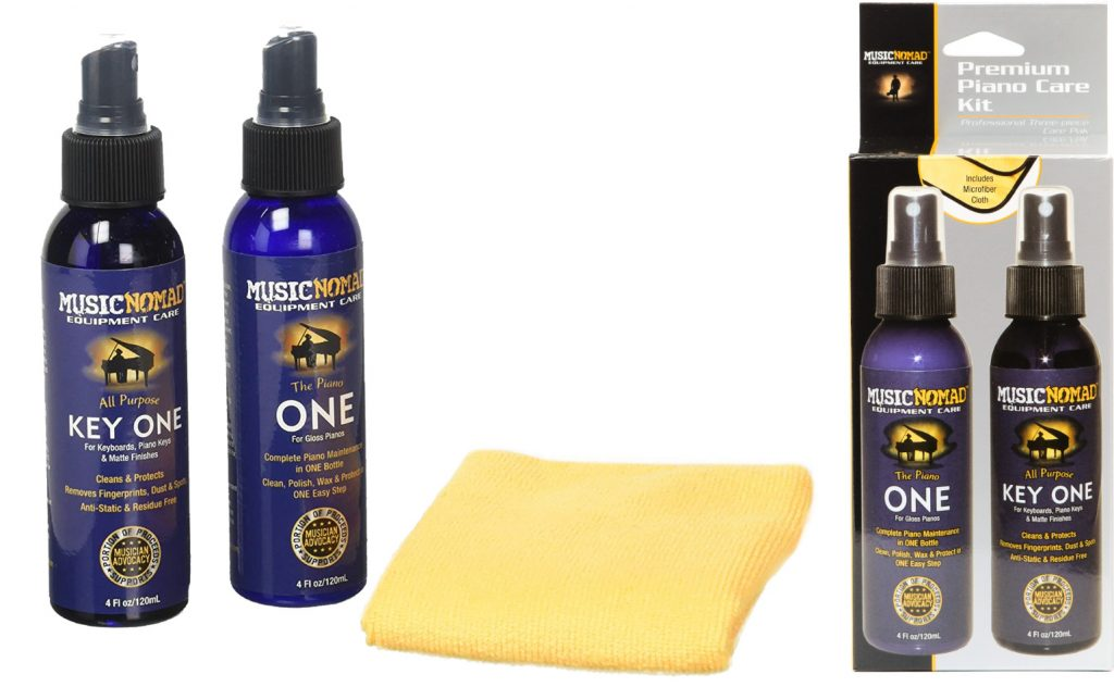 image showing the contents of Music Nomad's Premium Piano Care Kit