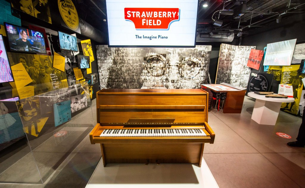 John Lennon's piano in the exhibition on a special plinth