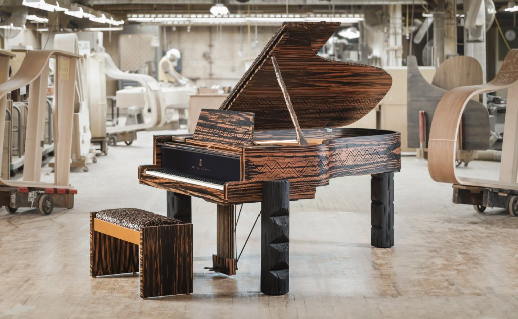 image showing the completed Kravitz Grand in the Steinway workshop