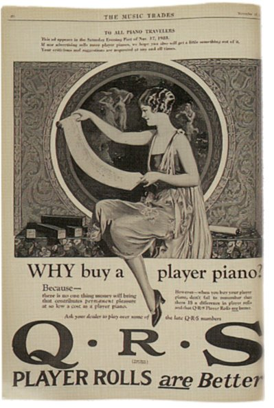 a QRS advert from the 1920s