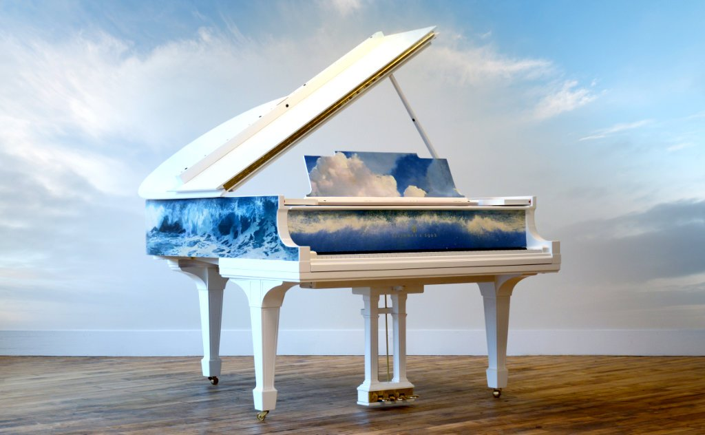image showing the La Mer Steinway against a blue-sky background