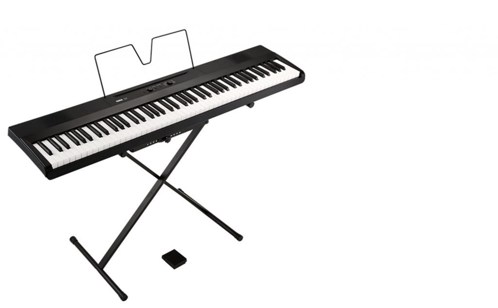 The Korg L1 shown on a scissor stand