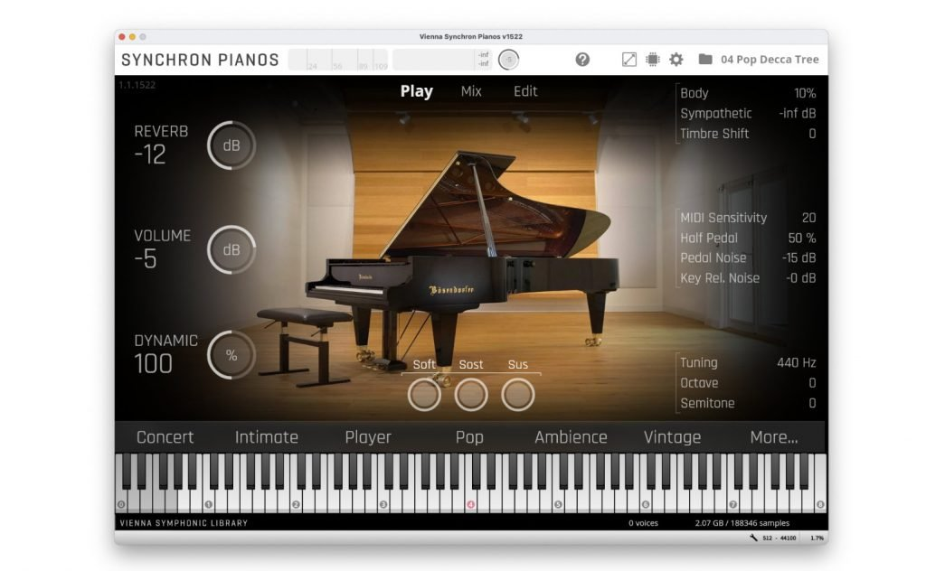 The main editing screen showing the Bösendorfer 280VC's presets and main control elements