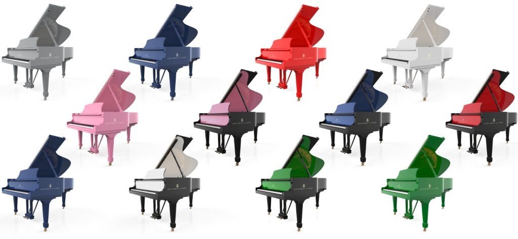 a collection of different coloured pianos — examples of the Steinway Pops Collection