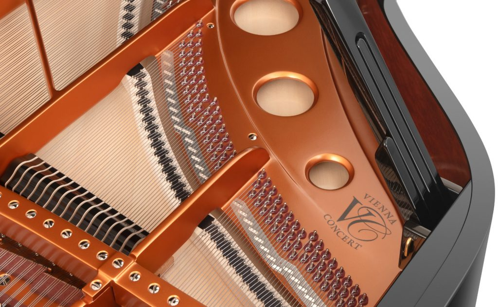 close up of the inside of the Bösendorfer 230VC showing the Vienna Concert logo