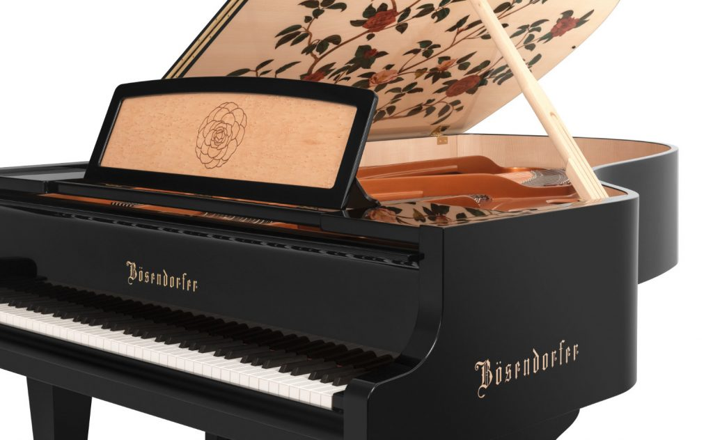 photo showing the music rest and the inlaid camellia