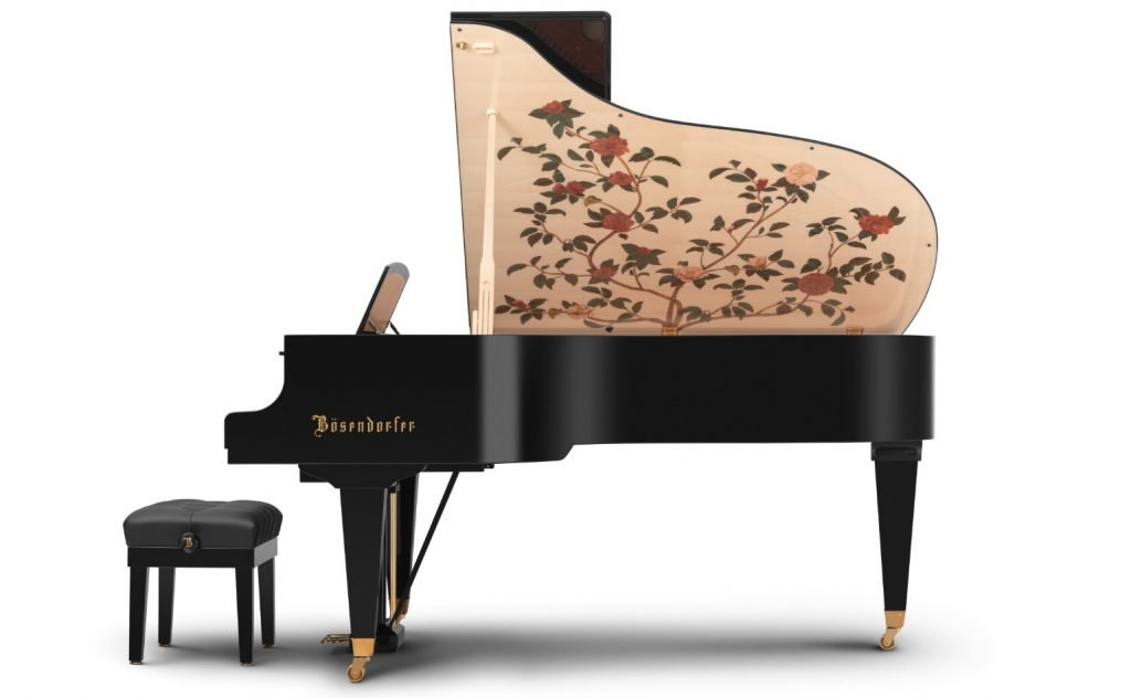 bent-side view of the Camellia Grand piano