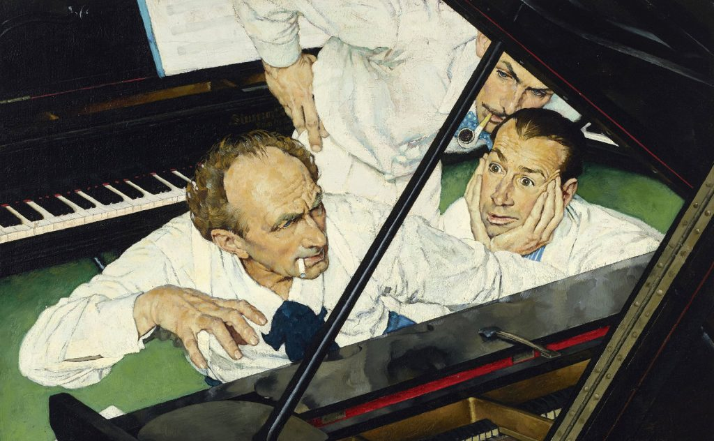 """Part of the painting  """"Jeff Raleigh's Piano Solo"""" showing showing the three main characters."""