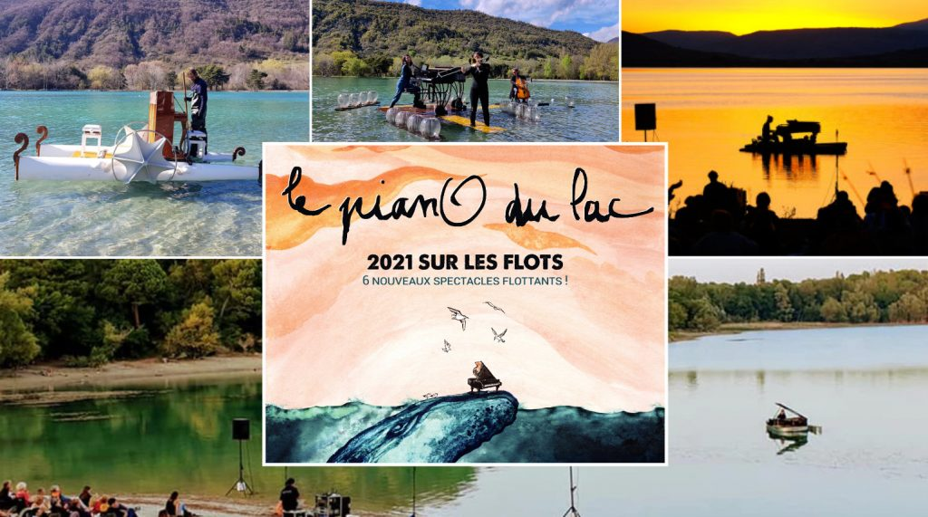 a collage of photos showing Le Piano du Lac's various pianoboats.