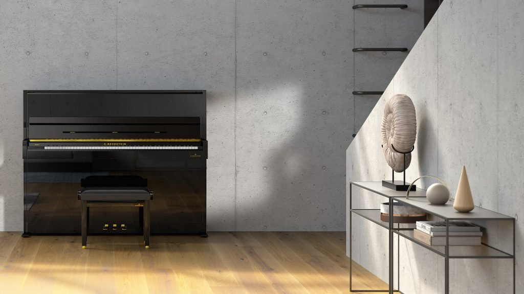 lifestyle image of Academy A 4 upright piano, front elevation