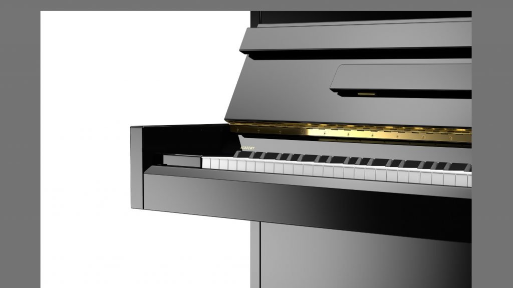 close-up of the keyboard and end cheek of the Academy A 4