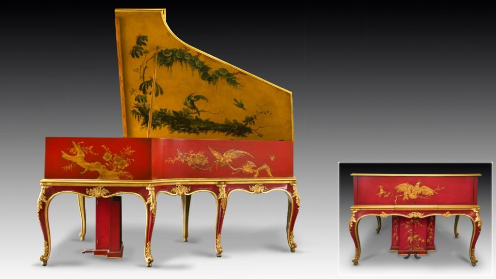 studio photographs of Pleyel Louis XV Chinoiserie grand piano (bent side), with inset of front of piano (lid closed)