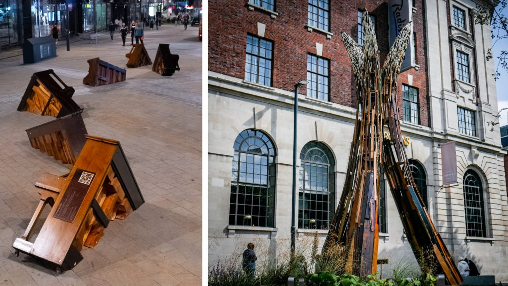 two photos showing sculptures from the Leeds Piano trail in situ